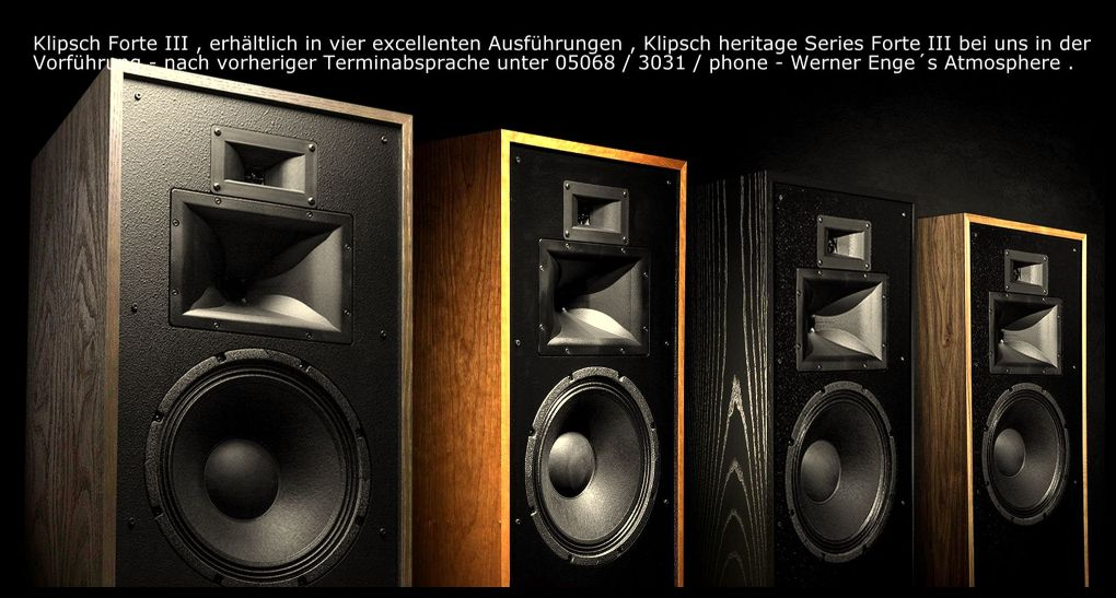 klipsch-forte-3-in-vier-diversen-furnieren-call-05068-3031-werner-enges-atmosphere-klipsch-aaron-sovereign-transrotor-lovan-opera-audio-seit-43-jahren-ihr-klipsch-spezialist-in-deutschland-serving-complete-germany-and-others